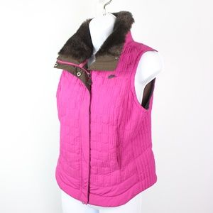 Nike quilted vest fuschia pink faux fur collar